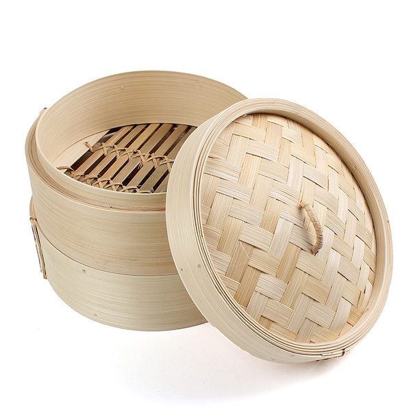 2 Tier Cooking Bamboo Steamer For Food Dumplings Fish Rice Vegetable Handmade Steamer Basket Tray Home Kitchen Cooking Tool
