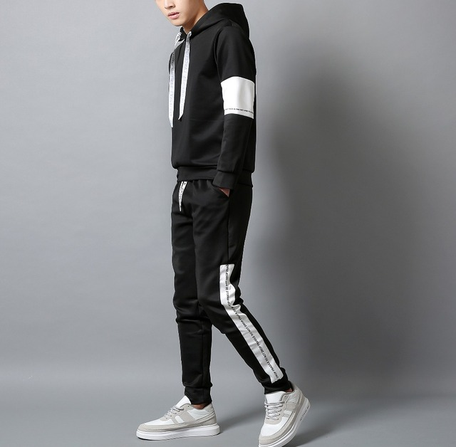 White Black Men Hoodies Set Fashion 2020  4