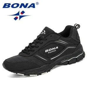 Image 2 - Мужские кроссовки из коровьего спилка BONA, черные дизайнерские кроссовки для бега, спортивная обувь, 2019