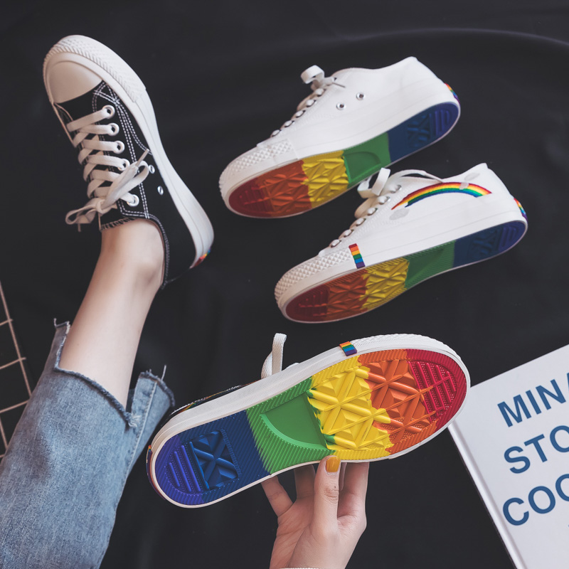 Rainbow Canvas Women Shoes 2019 New Fashion Shoes Leisure Board Shoes Retro Wild Low-top Breathable Casual Shoes Women Sneakers 4