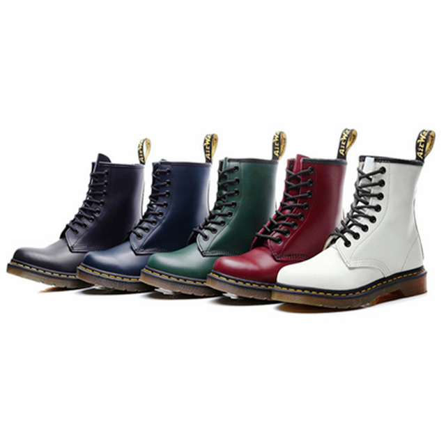 Women Boots Genuine Leather Ankle Martens Boots for Women Casual Dr. Motorcycle Shoes Warm Fur Winter Couple Shoes Zapatos Mujer 1
