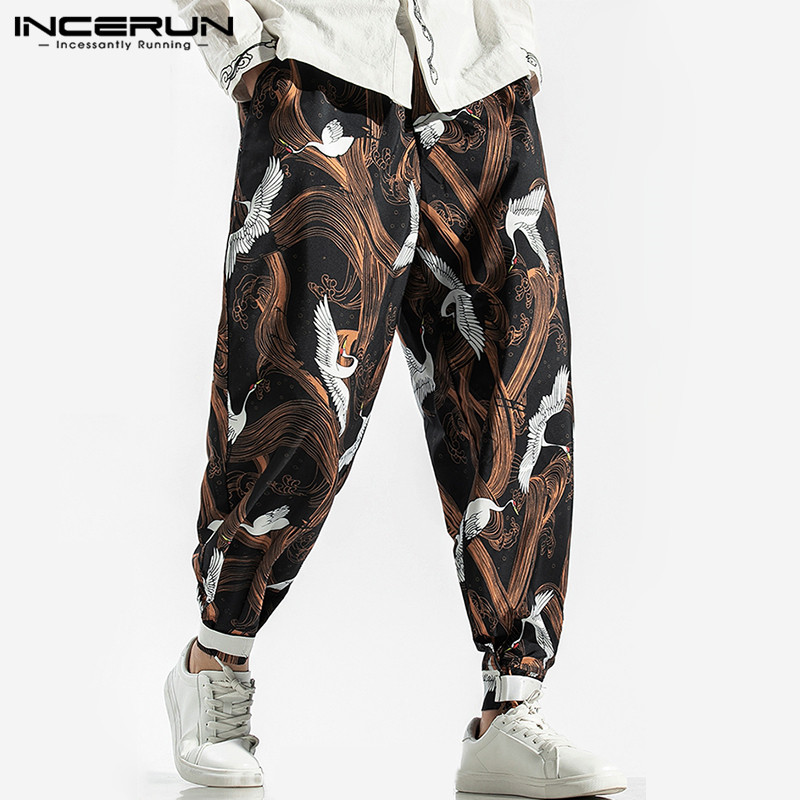 INCERUN Printed Men Harem Pants Elastic Waist 2019 Loose Joggers Streetwear Chinese Vintage Casual Pants Trousers Men S-3XL 2019