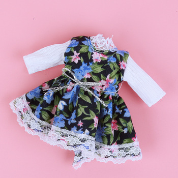 1/8 BJD Dolls Clothes Set 16-18 CM BJD Dolls Lace Flower Dress Sweater 6 Inch BJD Dolls Tops With Skirt For Girls Dolls Clothes - Navy