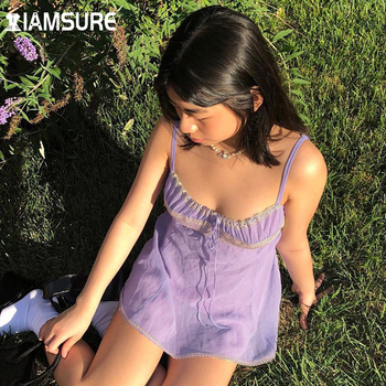 grey rib crossed front deep v neck self tie playsuits IAMSURE Prairie Chic Lace Trim Lavender Mini Dress Tie Front Deep V Neck Spaghetti Straps Above Knee Dresses Female 2020 Casual