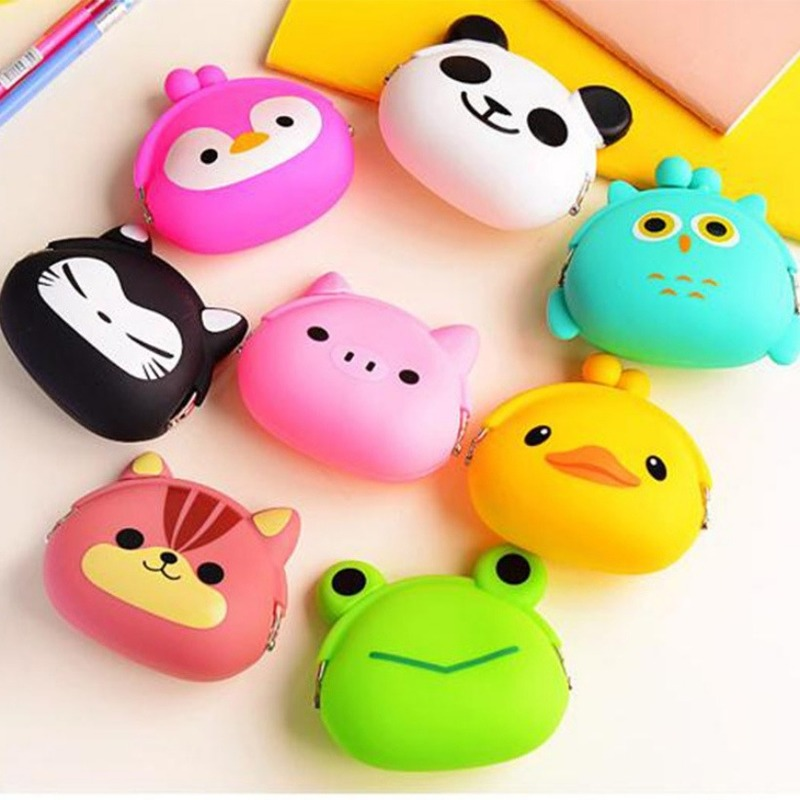 Mini Silicone Animals Coin Purse Ladies Fashion Personality Pattern New Cute Clasp Card Pack Children Kids Cartoon Clutch Wallet