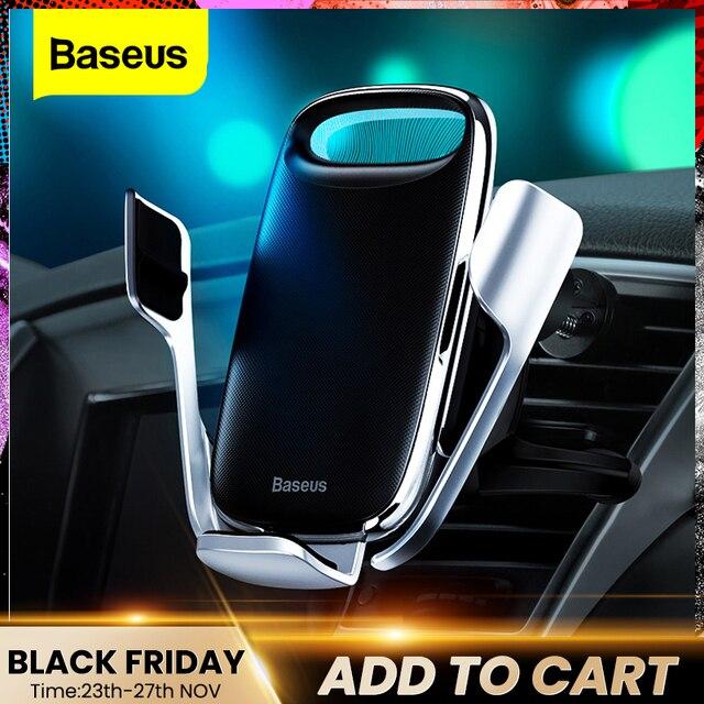 Baseus titular do telefone do carro para o iphone 11 pro max 15w qi carregador sem fio para xiaomi redmi nota 8 pro rápido suporte de carregamento sem fio