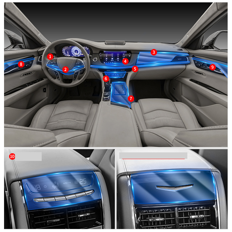 Lsrtw2017 TPU  Car Interior Gear Dashboard Gps Navigation Screen Protective Film For Cadillac Ct6 2016 2017 2018 2019 2020
