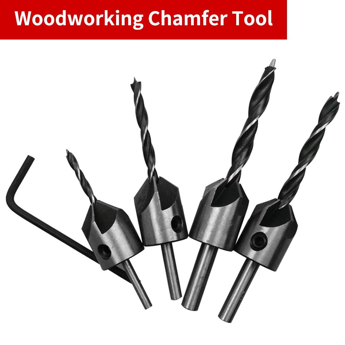 4Pcs HSS 5 Flutes Countersink Drill Bit Set Woodworking Carpentry Tool 6-12mm