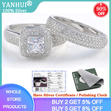 With Certificate Luxury 925 Sterling Silver Ring Set Wedding Bands For Bridal Women Ladys Couple Pair Rings Fine Jewelry DR149 cheap yanhui 925 Sterling Zircon Third Party Appraisal Prong Setting See Pics CER149 ROUND Classic S925 Gift Ring Box with certificate and Polishing Cloth