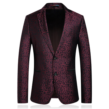 2020 Red Wedding men blazer hombre casual business Meeting party marriage suit jacket slim fit two-buttons printed Terno Costume