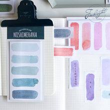 Etiquetas pegajosas do diário da bala da aguarela da nota do estilo da aguarela 8 cores para sua escolha