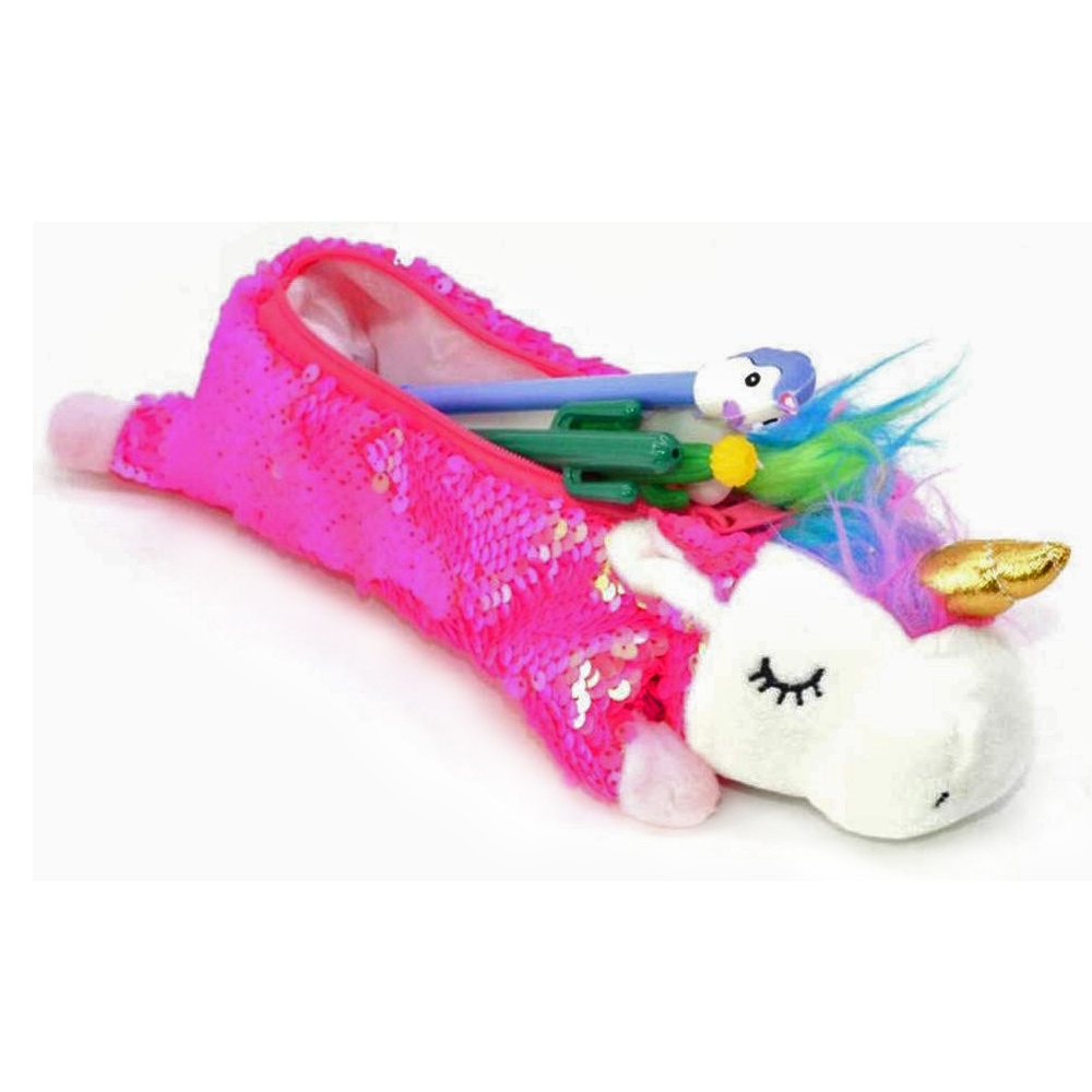 Sequin Unicorn Pencil Case Crayon Unicorn  Pencil Bags Kids Girls Plush Pencilcase For School Stationery Korean Glitter Creative