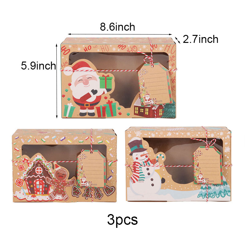christmas candy cookies bags kraft paper biscuit bag christmas favors decor xmas decorations for home navidad 2020 gift boxes-1
