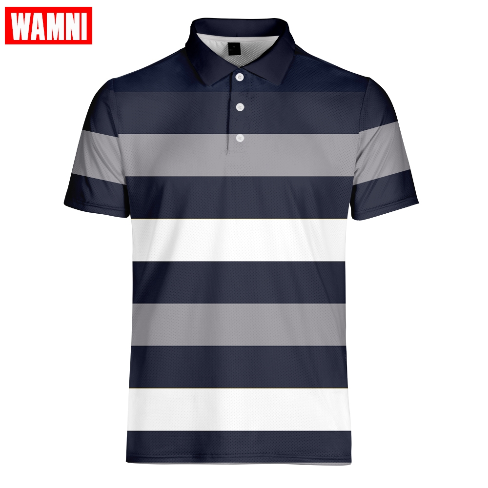 WAMNI Esporte 3D Polo Tênis De Secagem rápida T Camisa Badminton Geométrica Ocasional Turn-down Collar Masculino Streetwear Listrado Polo -camisa