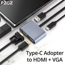 PZOZ USB C HDMI VGA מתאם סוג C כדי HDMI 4K TYPE C לסמסונג גלקסי S10 S9 S8 Huawei mate 20 P30 פרו USB C HDMI VGA מתאם