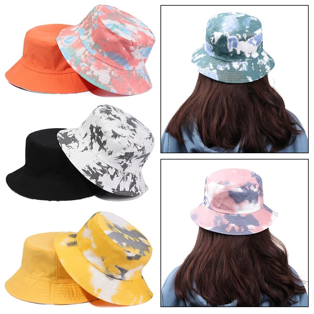 Sombrero de pescador plegable de algodón para hombre y mujer, gorra de pescador de doble cara, de Color arcoíris, protector solar Tie-Dye para verano al aire libre
