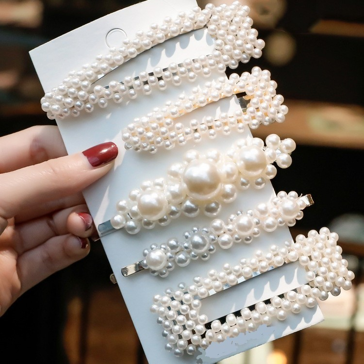 5Pcs Fashion Sweet Pearls Hairpins Girls Headwear Elegant Hair Clips Headband Ins Ornament Barrettes Hair Accessories For Women