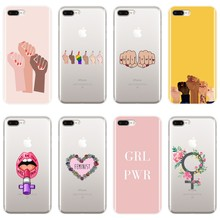 Feminist Girl Power Wanita Back Cover untuk Apple Iphone X XR X MAX 8 7 6 S 6 S Soft kasus Silikon untuk iPhone 8 7 6 S 6 S PLUS(China)