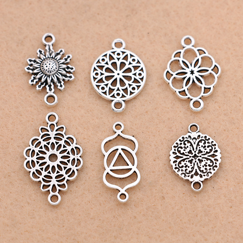 KJjewel Tibetan Silver Plated Flower Connector For Jewelry Making Bracelet Accessories DIY Findings 10pcs/lot
