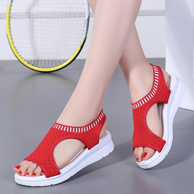 H811e85ea14b44ea2b8d4ce0676c83932u - Sandals Women Fashion Breathable Comfort Ladies Sandals Summer Shoes wedge Black White Sandal
