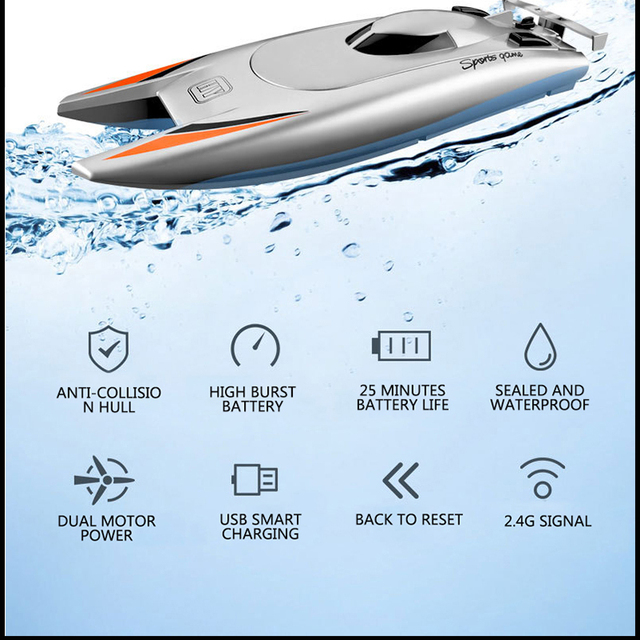 2021 NEW RC Boat 2.4G Remote Control Double Motor Waterproof USB Charging Double Helix Design Toys Gift For Children 6