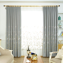 Idyllic Small Fresh Reed Embroidered Cotton and Hemp Curtain Window Screen Shaded Curtains for Bedroom For Living Room