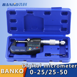 0.001mm Digital Micrometer 0-50mm Electronic Outside Micrometers Chrome Plated Caliper Gauge Measuring Tools 0-25-50-75-100mm