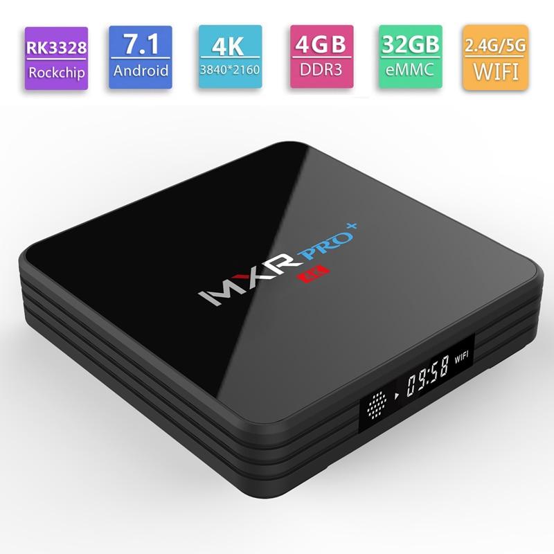 MXR Pro Plus Android 9,0 caja de TV RK3318 Quad Core Smart Mini PC con pantalla LED 2,4G/5G doble banda Wifi Bluetooth 4K reproductor multimedia-in Decodificadores from Productos electrónicos    1