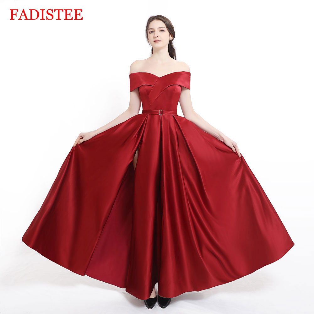 New arrival Burgundy evening Dress Formal vestido noiva sereia prom party robe de soiree luxury frock sexy side slit pockets 1