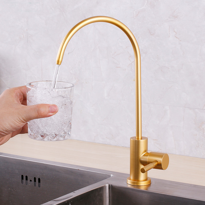 Golden Color Pure Water Drink Faucet For Kitchen Sink Luxury Design