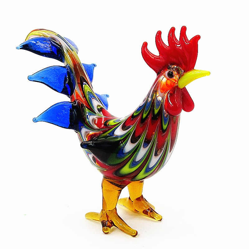 Christmas Decoration Gift For Kids Multicolor Hand Blown Murano Glass Rooster Figurine Ornament Artistic Glass Chicken Sculpture Figurines Miniatures Aliexpress