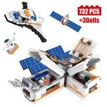 732pcs Creator Moon Space Station Building Block Technic Manned Spacecraft Bricks Set Figures Satellite Children's Toy Gift(China)