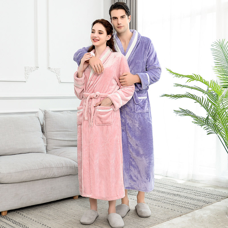 Lovers Winter Long Flannel Coral Fleece Warm Solid Bathrobe Women Men Kimono Bath Robe Bridesmaid Sexy Dressing Gown