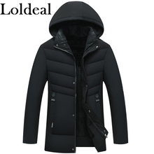Loldeal Winter Warm Quilted Jacket Outwear with Removable Hood Men Parkas Hooded Fleece Overcoats