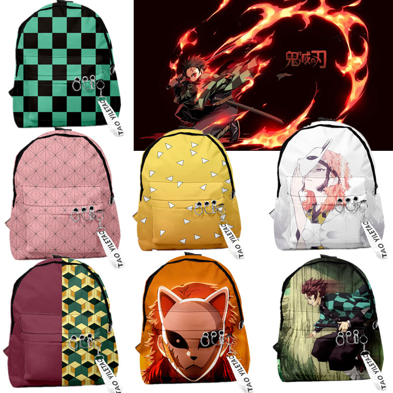 Anime Kimetsu No Yaiba Backpack Laptop Bag Teenager Schoolbag Boys Girls Kamado Tanjirou Cosplay Rucksack  Men Women Travel Bag