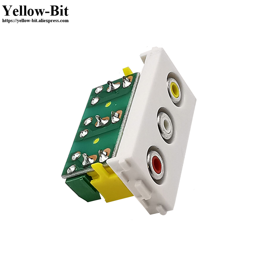 3RCA Video Audio Adapter  Female Jack  Socket Assembly Composite Video Wall Panel