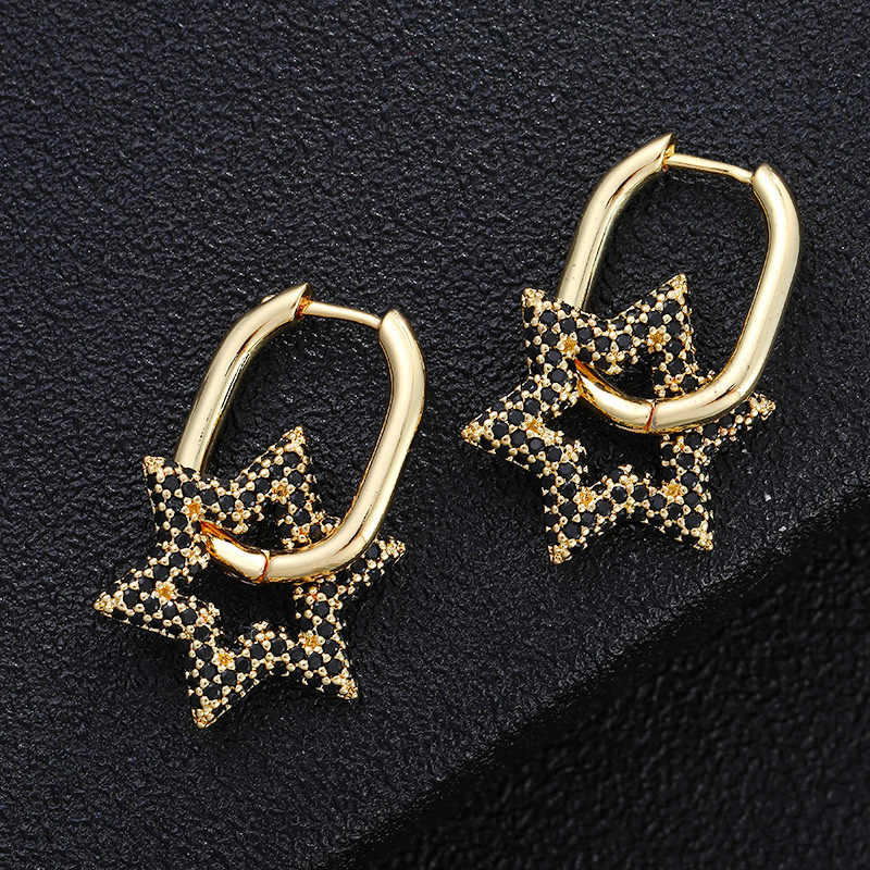 Pentagramm Edelstahl Ohrringe Frauen Schmuck Geometrie Ohrringe