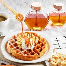 Bote de miel con palito de madera para miel, cuchara, gotero de abeja, botella de almacenamiento de cocina, 220/380ML