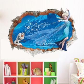 Cartoon Princess Elsa Wall Stickers for Kids Rooms Girls Bedroom Poster Vinyl DIY Mural Art Adesivo de parede Decal Baby Nursery 13