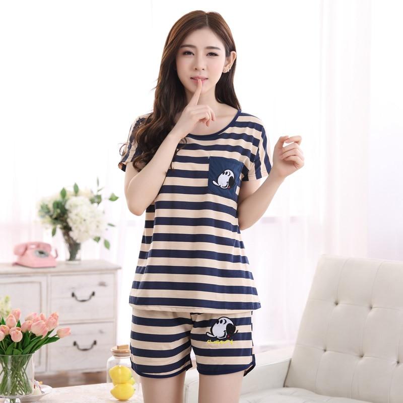 2020 Pajamas Set Leisure Wear Women Short Pyjamas Women Sleepwear Night Suit Home Wear Women Summer Cartoon Cotton Nightwear