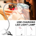 Светильник с увеличительным стеклом для ногтей, USB-лампа на прищепке для тату, светодиодсветодиодный настольная лампа Flexo, светильник для ст...