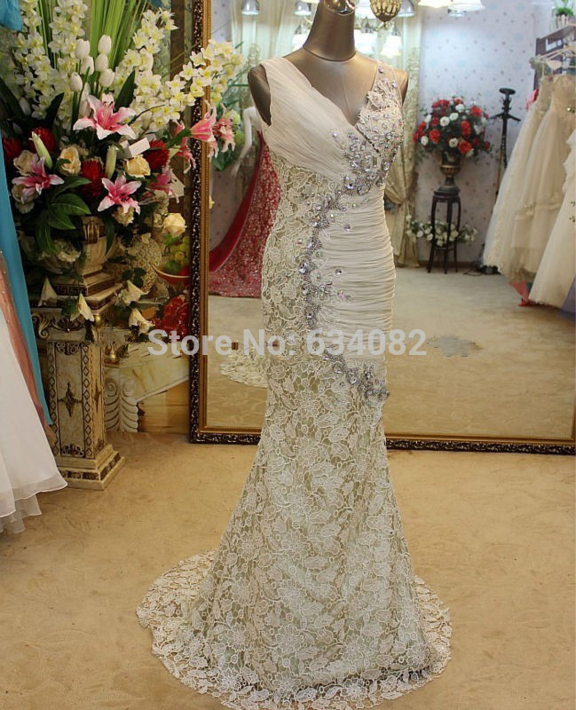 EDM-0067 Crystal Beaded Mother Of The Bride Dress For Wedding Party Elegant Long Mermaid Evening Dress With Lace Skirt
