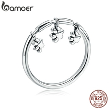 BAMOER Authentic 925 Sterling Silver Animal Dog Footprints Finger Rings for Women Fashion Sterling Silver Ring Jewelry SCR394