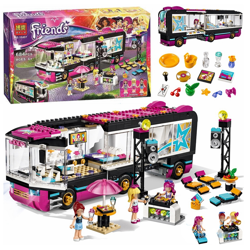 Friends Series Pop Star Tour Bus Building Blocks Bricks Compatible With 41106 Girls Friend Set Bricks Toys For Girl