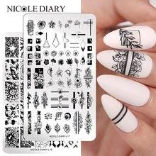 NICOLE DIARY-plantillas para decorar uñas, láminas con imágenes para estampado de uñas artísticas, varios modelos de plantillas, estampado de flores, etc.