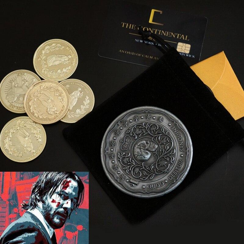 Filme john wick cosplay prop acessórios moedas de ouro com continental hotel cartão sangue juramento marcador