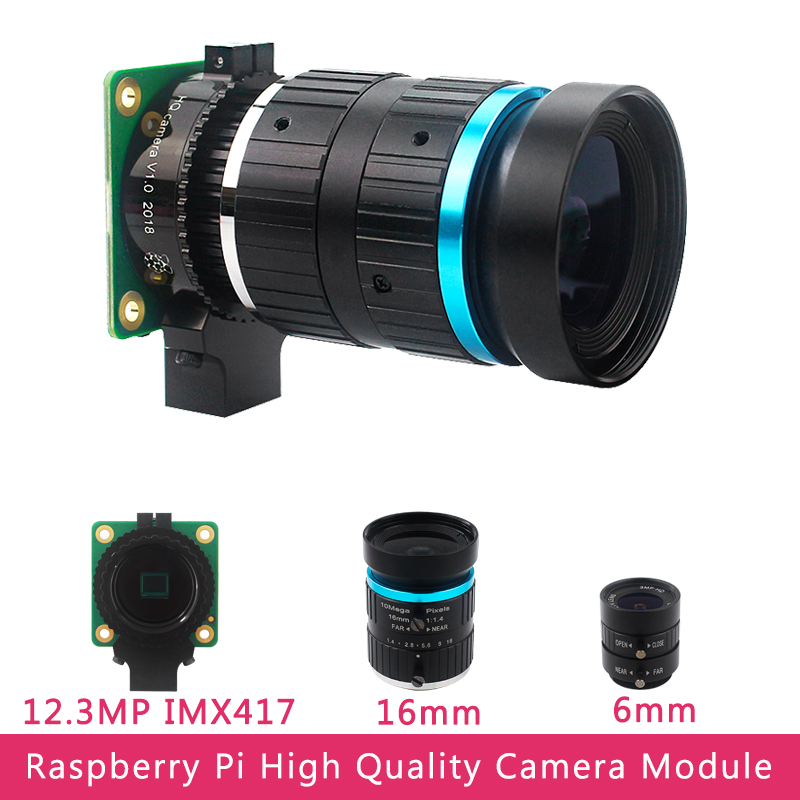 Raspberry Pi High Quality Camera Module 12 3 Megapixel Sony IMX477 Sensor Adjustable  Focus  6mm CS 16mm C-mount Lens for 4B 3B