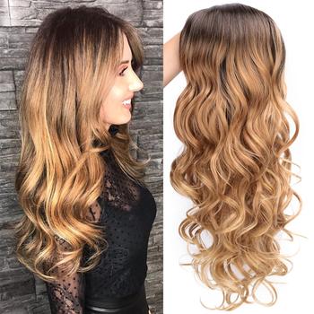 AISI QUEENS peruki syntetyczne blond długie faliste środkowe syntetyczne peruki damskie żaroodporne naturalną linią włosów pełne peruki tanie i dobre opinie Wysokiej Temperatury Włókna long Falista 1 sztuka tylko Średnia wielkość
