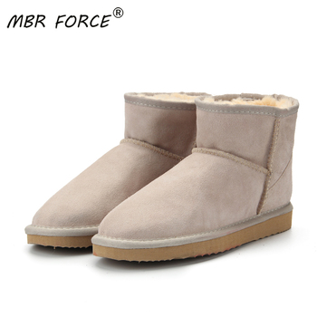 MBR FORCE Fashion Female fur Snow Boots Genuine Cowhide Leather Ankle women Warm Winter Woman Waterproof big size shoes - discount item  65% OFF Women's Shoes