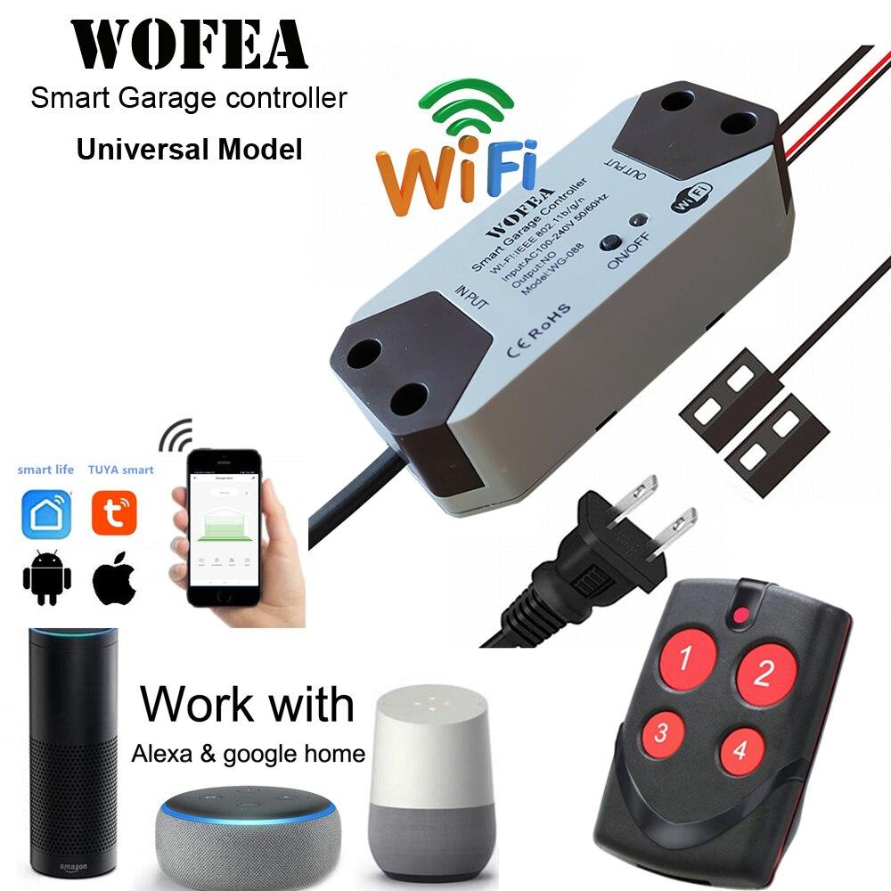 Wofea Universal Smart Garage Door Opener Controller WiFi Switch  Work With Alexa Echo Google Home Control No Hub Require